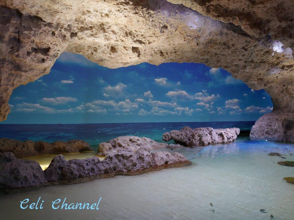 DMMかりゆし水族館 沖縄の空模様と海岸を再現したエリア